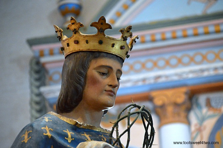 Statue of King Louis IX of France inside Mission San Luis Rey Church