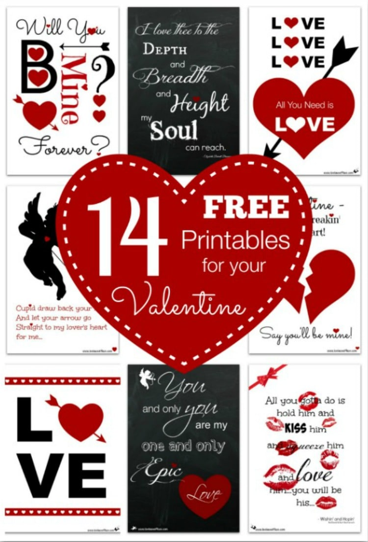 14 FREE Printables for Your Valentine on Valentine's Day