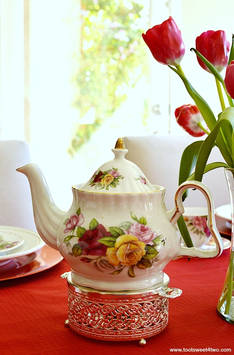 Pink, Red, Yellow Rose Teapot - A Valentine's Day Tea Party Tablescape
