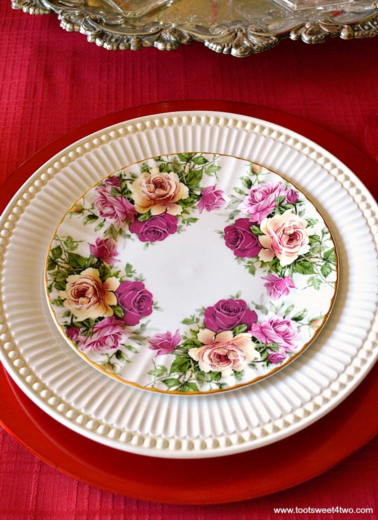 Pink, Red and Yellow Rose Dessert Plate - A Valentine's Day Tea Party Tablescape