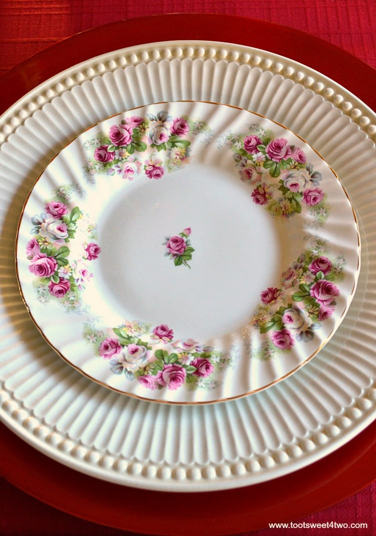 Pink Rose Porcelain Dessert Plate - A Valentine's Day Tea Party Tablescape