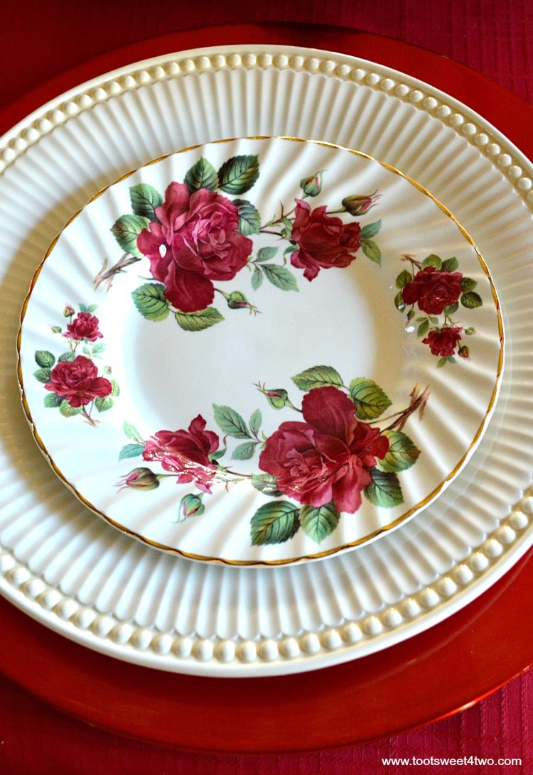 Red Rose Porcelain Dessert Plate - A Valentine's Day Tea Party Tablescape