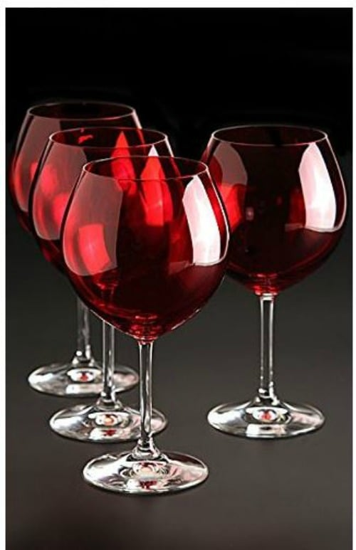 Red Stemware Glasses on Amazon