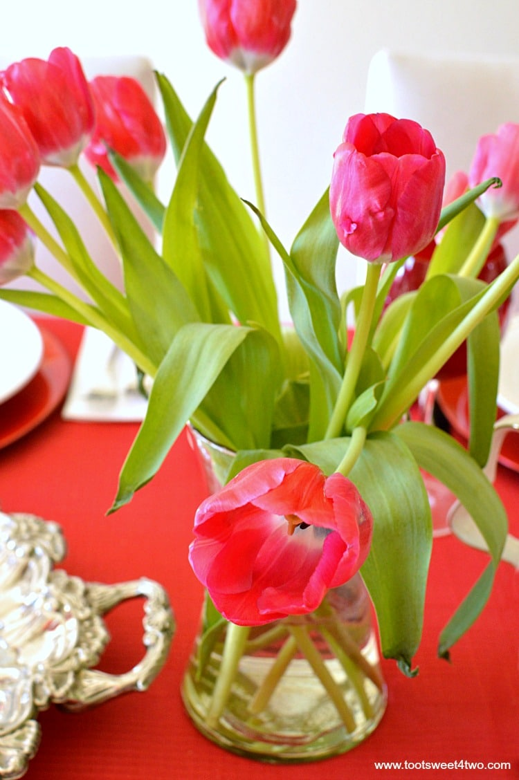 Red Tulips in a Vase - A Valentine's Day Tea Party Tablescape