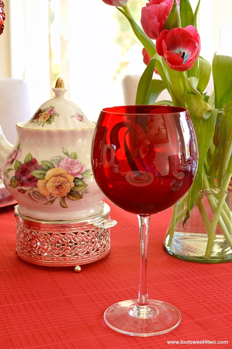 Red Wine Glass - A Valentine's Day Tea Party Tablescape
