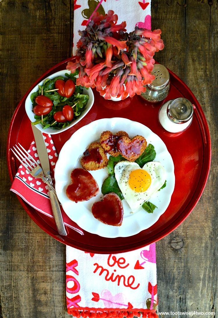 Sweetheart Ham and Egg Breakfast on a red tray