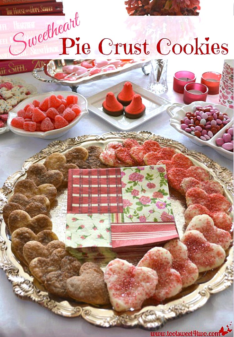 Sweetheart Pie Crust Cookies on silver tray on buffet table