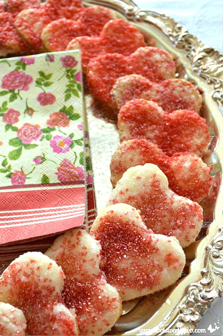 Sweetheart Red Sprinkle Pie Crust Cookies on silver platter
