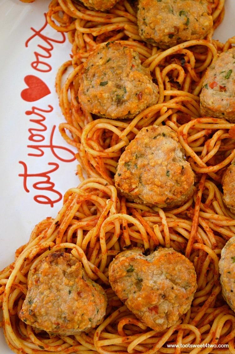 Sweetheart Turkey Meatballs with Spaghetti - Pic 1