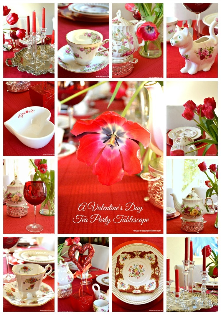 Valentine's Day Tea Party Tablescape collage