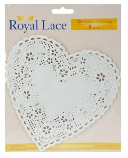 White paper heart-shaped doilies on Amazon