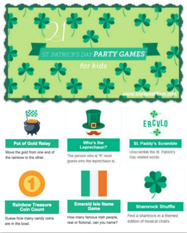 21 St. Patrick's Day Party Games for Kids 750x931 collage - Toot Sweet 4 Two