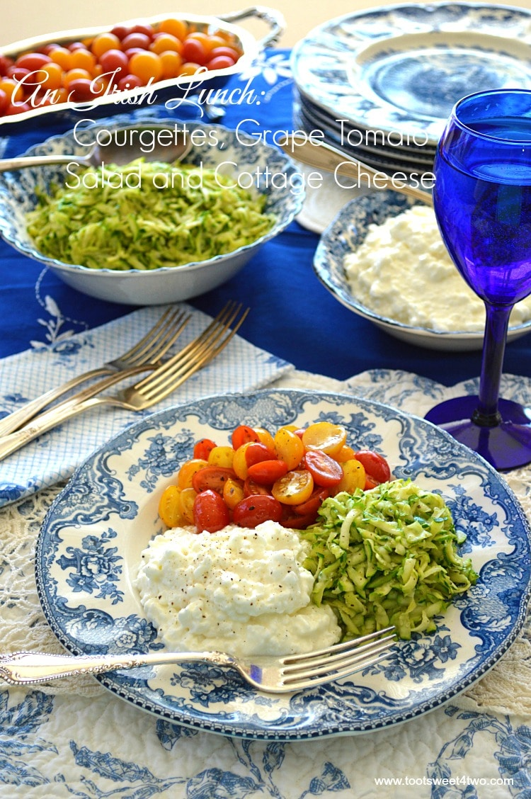 An Irish Lunch of Courgettes, Grape Tomato Salad and Cottage Cheese