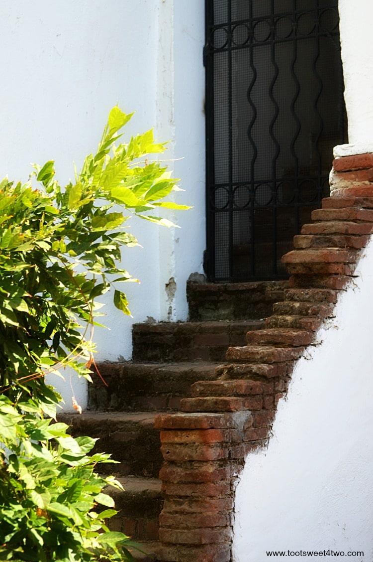 Brick stairway at Mission San Luis Rey de Francia