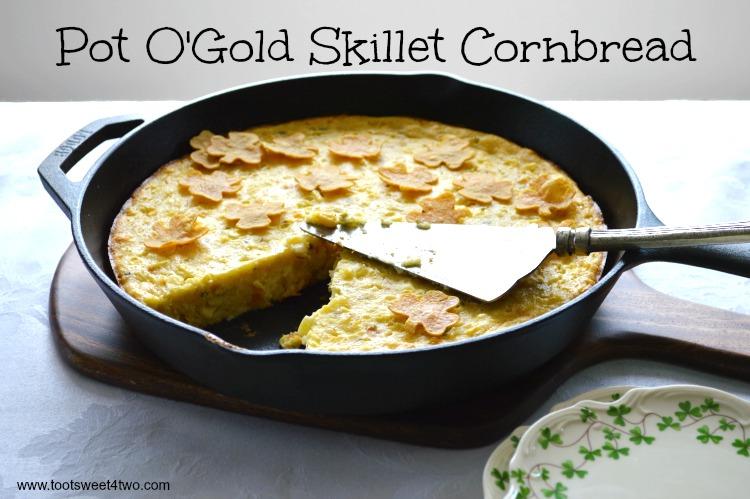Pot O'Gold Skillet Cornbread served in a cast iron skillet