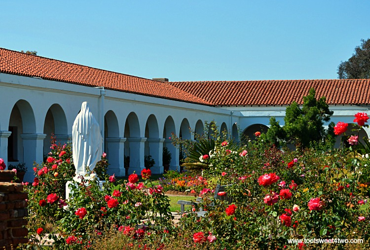 Private gardens beyond the Welcome Center at Old Mission San Luis Rey