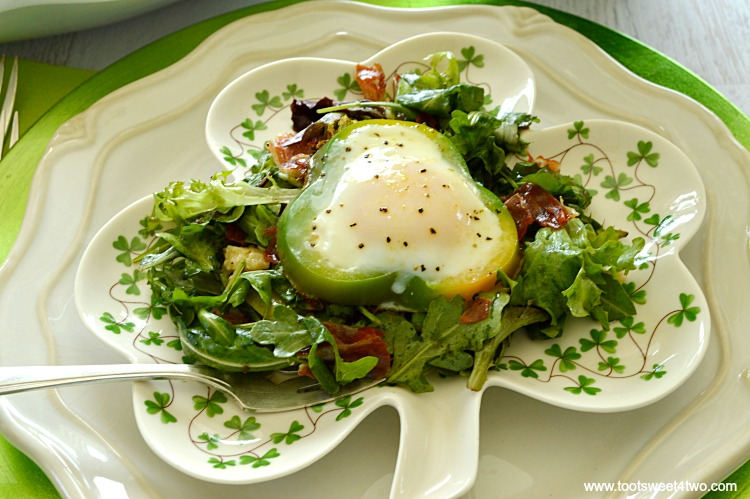 Shamrock Poached Eggs on Field Greens - Pic 3