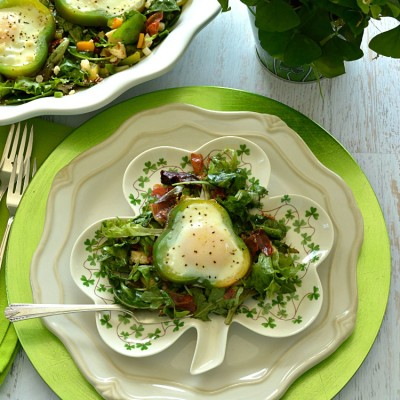 Shamrock Poached Eggs on Field Greens