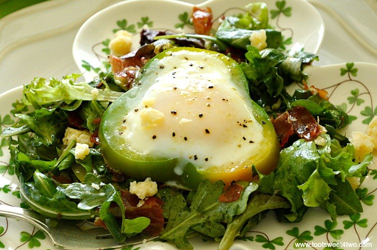 Shamrock Poached Eggs on Field Greens - Pic 6