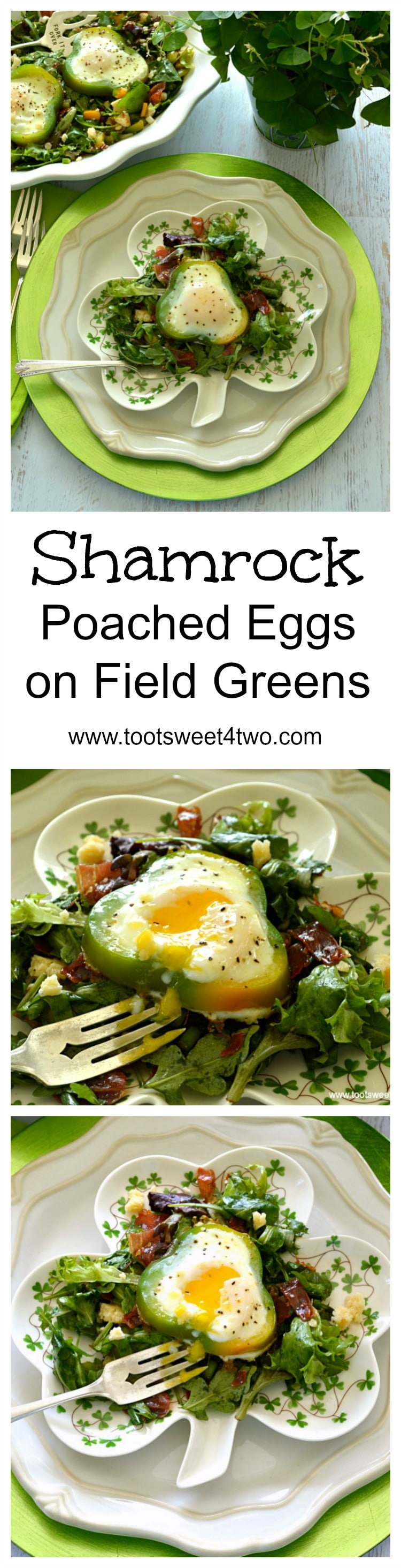 Shamrock Poached Eggs on Field Greens collage