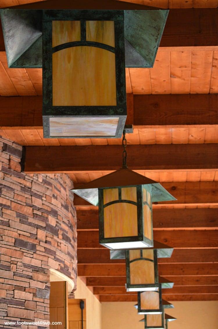 Craftsman-style lanterns at the Junipero Serra Center at Old Mission San Luis Rey