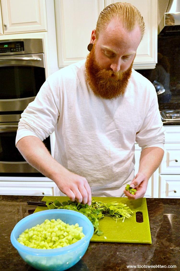 Kyle preparing cilantro for Kyle's Killer Ceviche Del Mar
