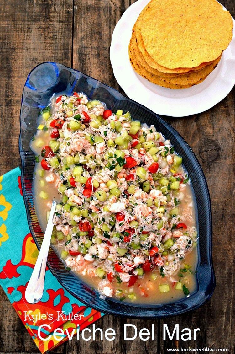Kyle's Killer Ceviche Del Mar in blue glass seashell bowl