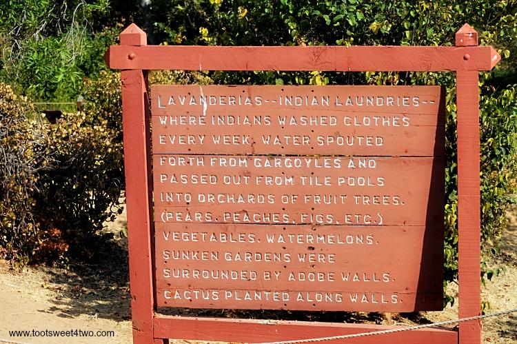 Lavanderia signage at Mission San Luis Rey