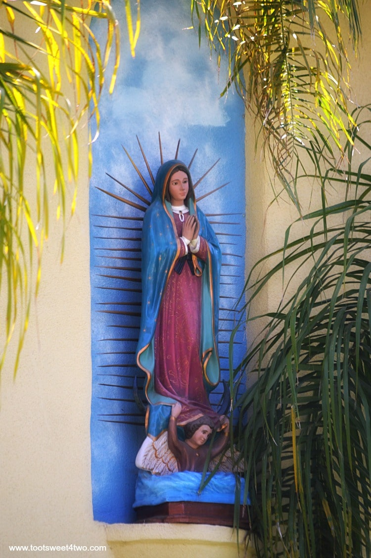 Madonna on side of Parish Offices at Old Mission San Luis Rey Gardens