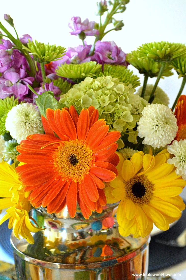 Close-up of flowers for Decorating the Table for a Cinco de Mayo Celebration