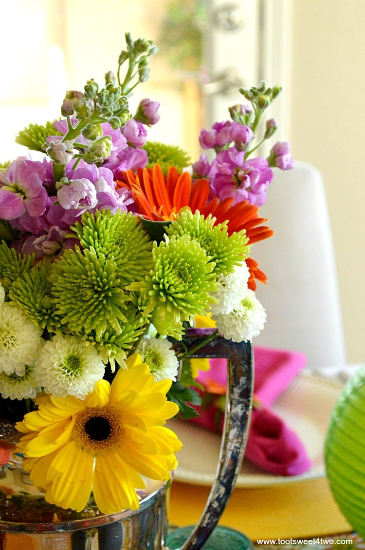 Colorful flowers for Decorating the Table for a Cinco de Mayo Celebration