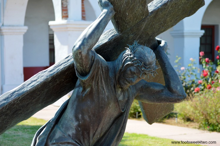 Known as the King of the Mission, Mission San Luis Rey de Francia, in Oceanside, California, is one the jewels of the California Mission System. Located on a hill above a busy main thoroughfare, this serene church is surrounded by lovely gardens peppered with amazingly incredible sculptures. See some of these beautiful, life-sized sculptures at www.tootsweet4two.com.