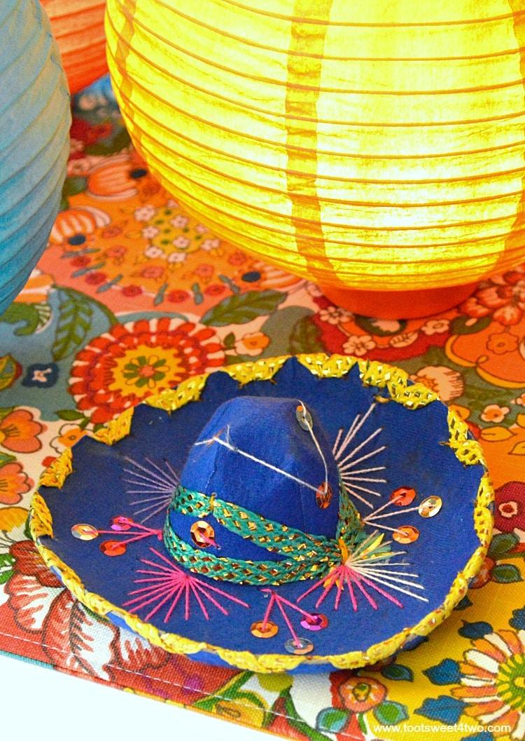 Miniature Dark Blue Mariachi Sombrero for Decorating the Table for a Cinco de Mayo Celebration