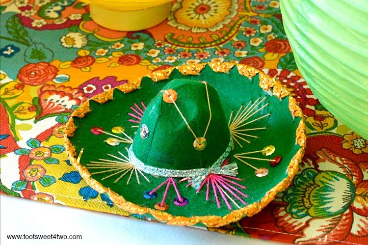 Miniature Green Mariachi Sombrero for Decorating the Table for a Cinco de Mayo Celebration