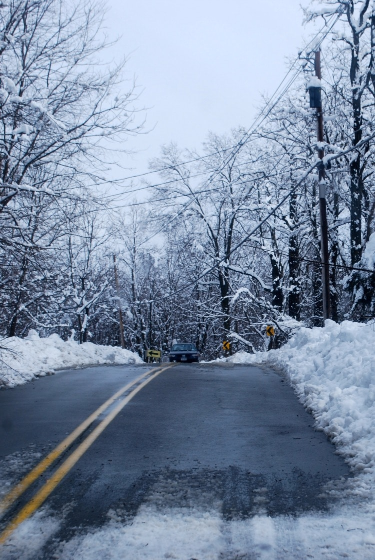 Preparing for Disaster During Pregnancy - road in a snowstorm