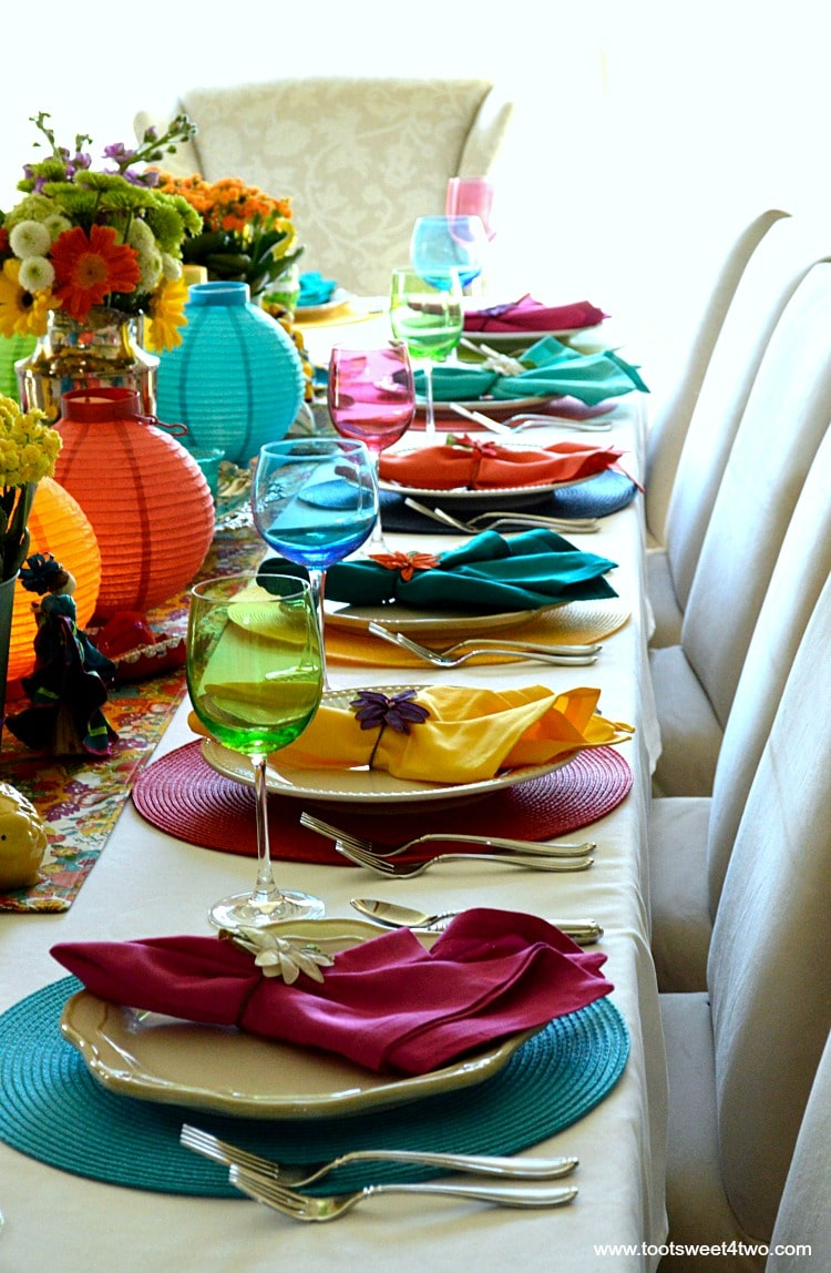 Right side of tablescape for Decorating the Table for a Cinco de Mayo Celebration