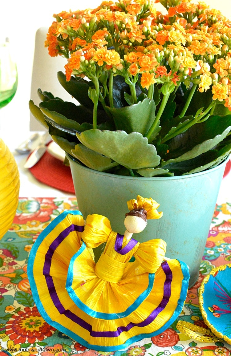 Yellow corn husk doll for Decorating the Table for a Cinco de Mayo Celebration
