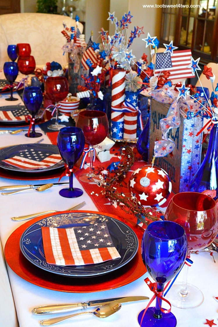 Decorating the table for th of july toot sweet two