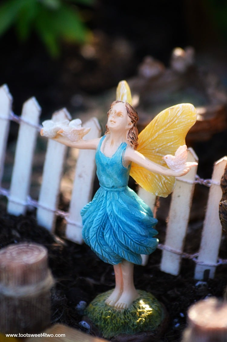 Blue Fairy with Doves in Miniature Fairy Garden