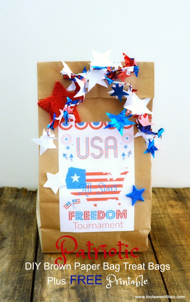 image about Printable Paper Bags identified as Patriotic Do-it-yourself Brown Paper Bag Deal with Baggage additionally Totally free Printable
