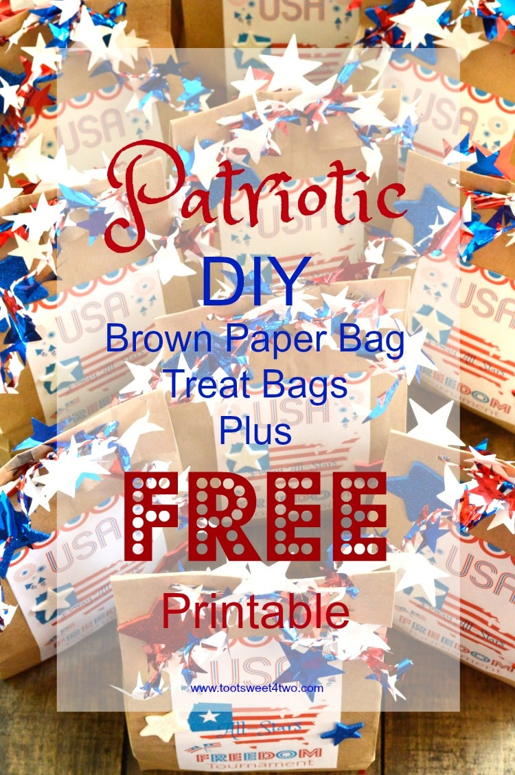 graphic about Printable Paper Bags referred to as Patriotic Do it yourself Brown Paper Bag Handle Baggage furthermore Cost-free Printable