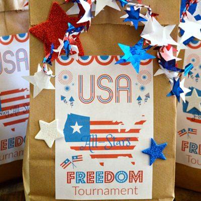 Patriotic DIY Brown Paper Bag Treat Bags plus FREE Printable