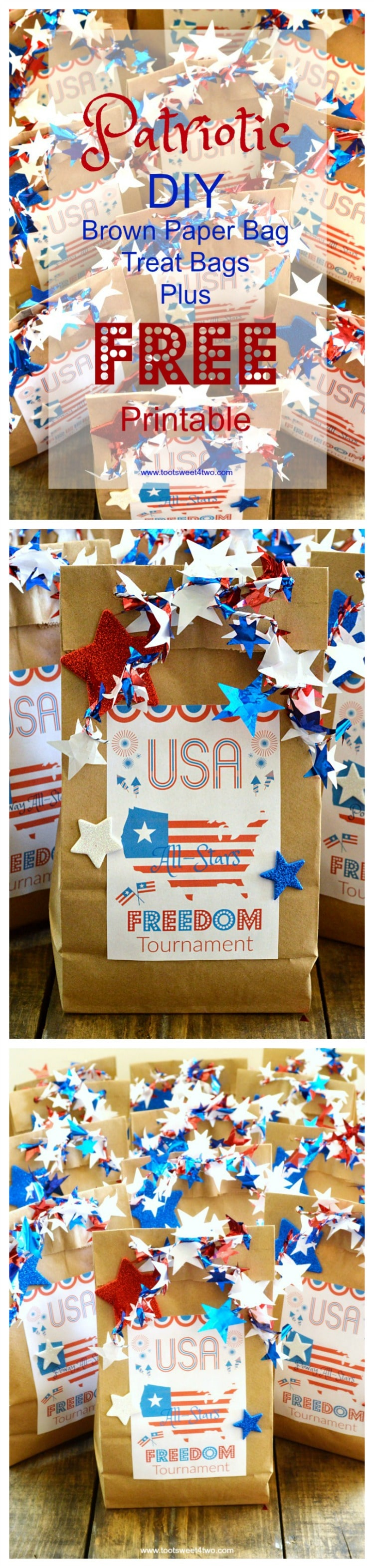 photograph relating to Printable Paper Bags identified as Patriotic Do-it-yourself Brown Paper Bag Deal with Baggage furthermore Cost-free Printable