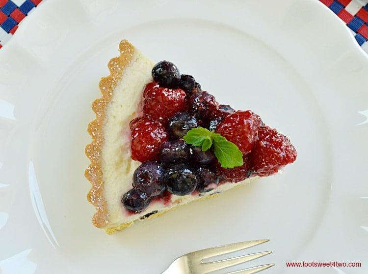 Patriotic Summer Berry Double-Cream Tart slice overhead