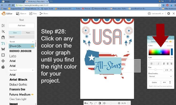 Step 28 - Choose Font Color