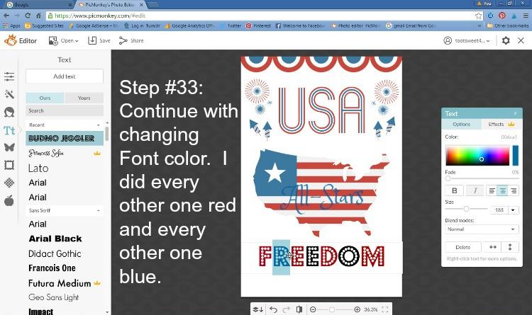 Step 33 - Change Font Color