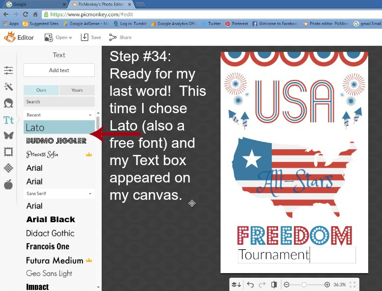 Step 34 - Choose Font