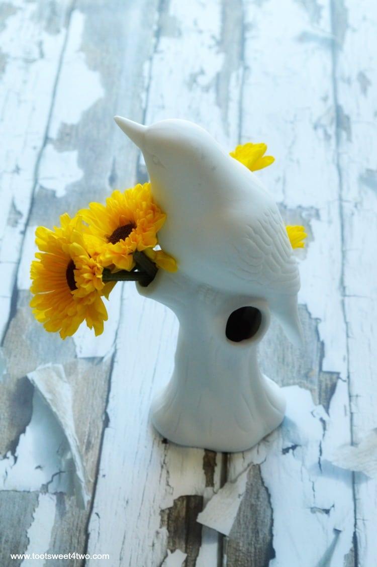 Backside of Bird Vase from Uncommon Goods