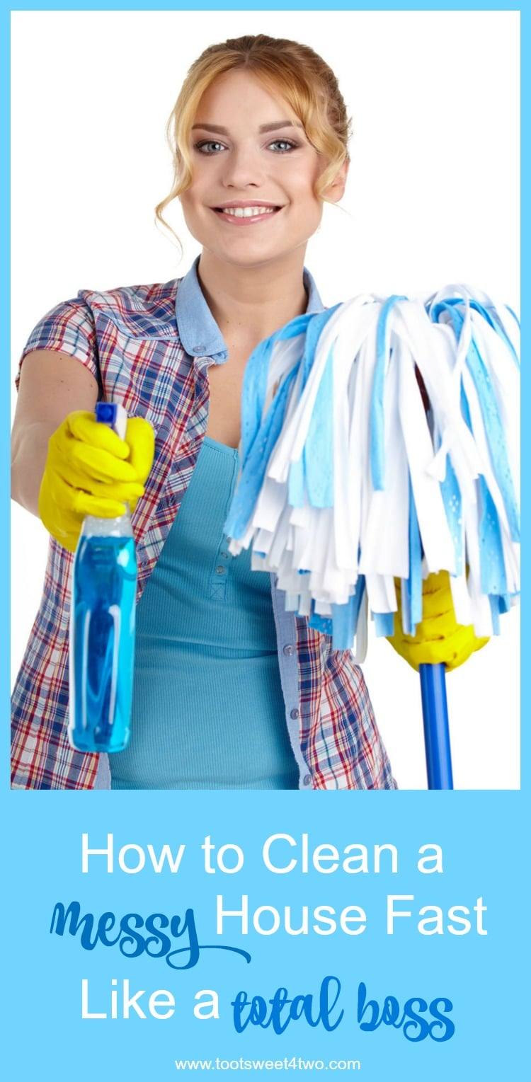 In the hustle and bustle of our daily lives, it is important to learn how to clean a messy house fast! Obviously, it would be nice to have a clean house and just keep it clean. That works well in theory, but in practice it can be much harder to keep your house as clean as you like. This is especially true if you juggle work and kids. If you're lucky enough to have the house to yourself, odds are you don't want to spend much time cleaning it. That is why it is important, no matter who you are, to learn how to clean a messy house fast! These simple tips will refine your routine leaving time for fun. | www.tootsweet4two.com