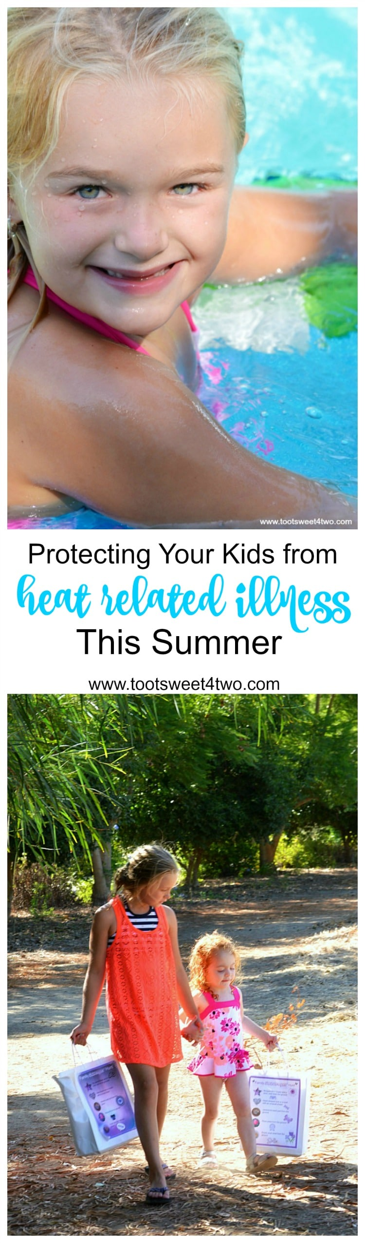 The summer sun may feel fantastic on your skin, but too much of a good thing can be dangerous for your health. Children, in particular, are vulnerable to heat-related illness because of their small body size. To protect your kids from heat related illness this summer, follow these simple tips. | www.tootsweet4two.com
